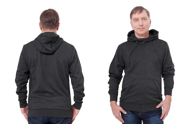 Man in zwarte hoodie voor en achter mock-up