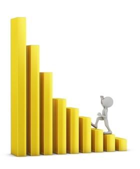 Man loopt door de gele kolommen in de grafiek. 3d render.