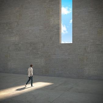 Man loopt naar een raam in een betonnen muur van waaruit je de lucht kunt zien. onbereikbaar. 3d render afbeelding en modellen.