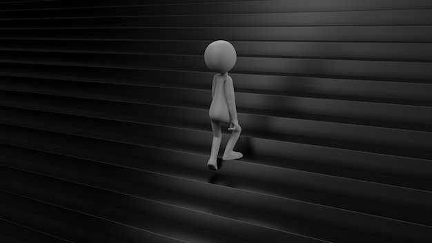 Man lopen op de zwarte trap - 3d-rendering