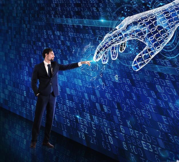 Man-machine-interactie tussen mens en een digitale hand