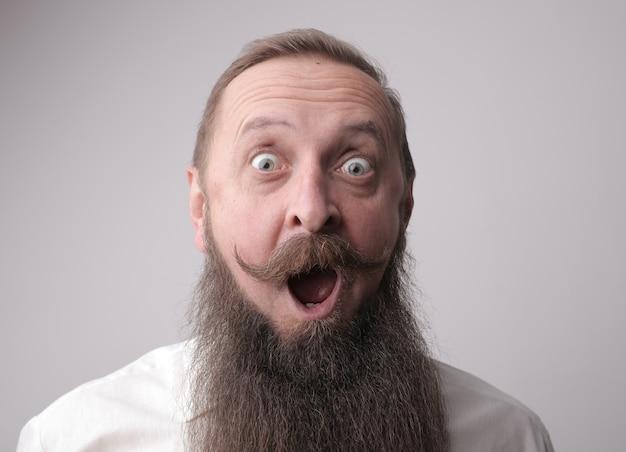 Man met baard en snor die verbaasd handelt terwijl hij voor een grijze muur staat