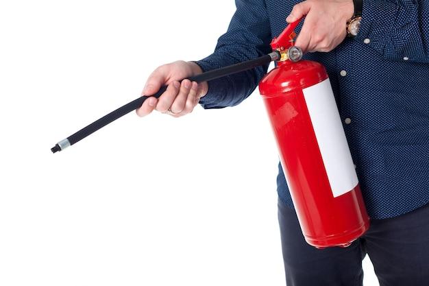 Man met brandblusser geïsoleerd op wit