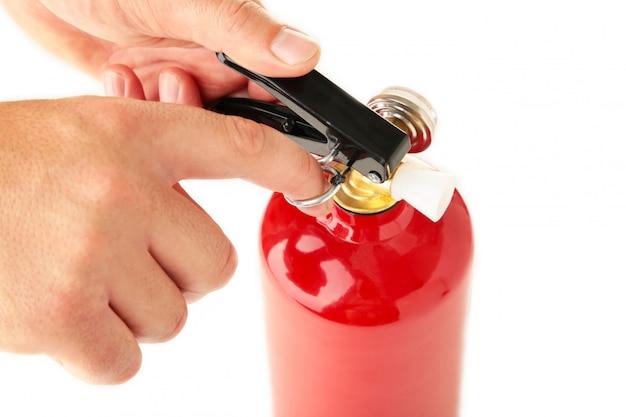 Man met brandblusser