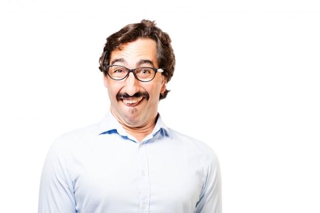 Man met een bril glimlachen
