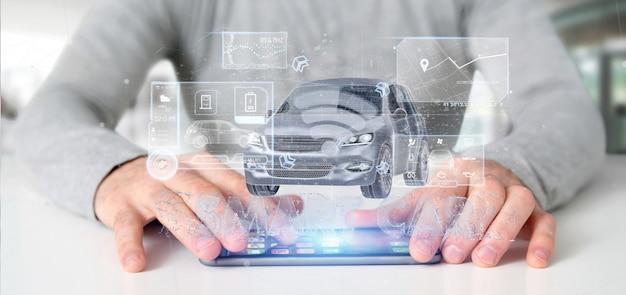 Man met een dashboard smartcar interface dashboard