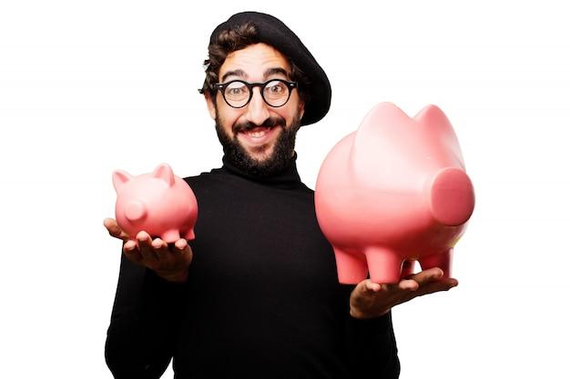 Man met een grote spaarpot varken en andere kleine