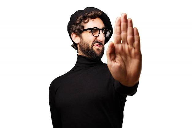 Man met een opgeheven hand te zeggen