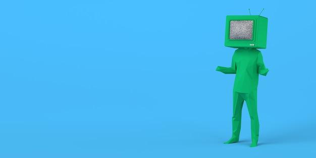 Man met een oude televisie in plaats van een hoofd televisiepubliek 3d illustratie ruimte kopiëren