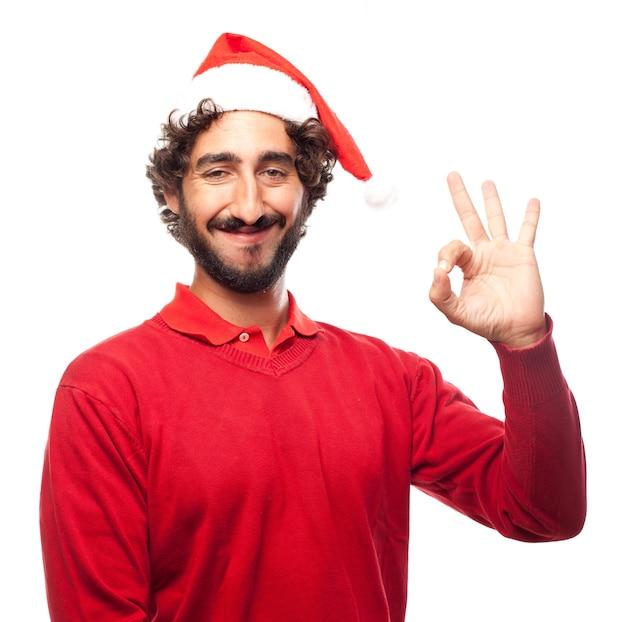 Man met hoed van de kerstman te zeggen ok
