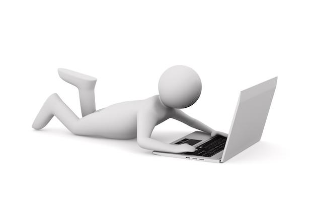 Man met laptop op witte ruimte. geïsoleerde 3d-afbeelding