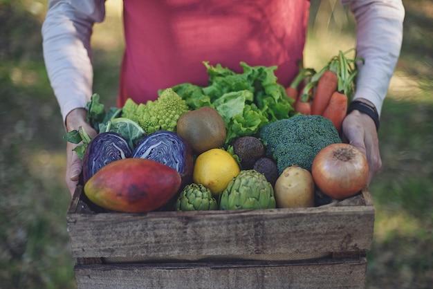 Man met mand met verse biologische groenten buiten gefotografeerd