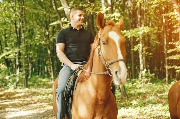 Man met paarden