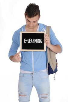 Man met schoolbord met tekst