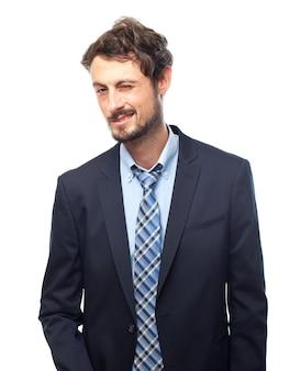 Man met suit knipogen naar een oog