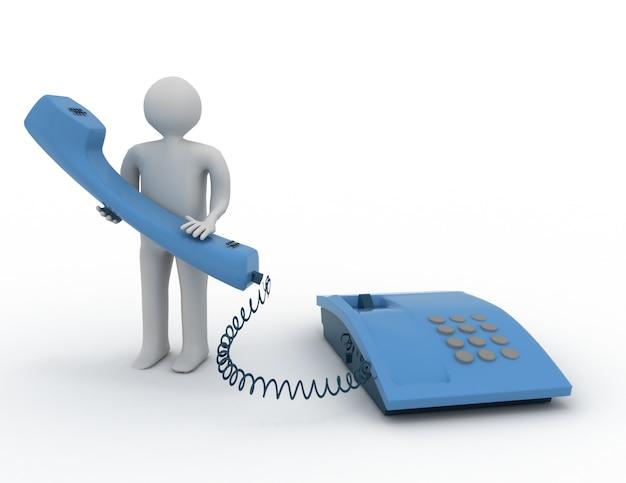 Man met telefoon. 3d-concept