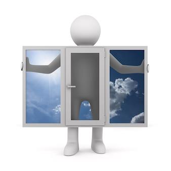 Man met venster op witte achtergrond. geïsoleerde 3d-afbeelding