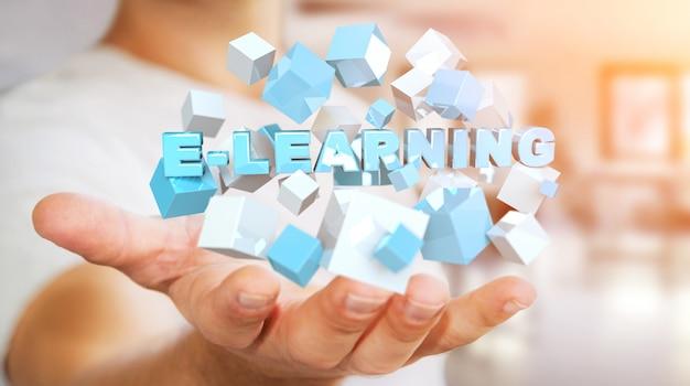 Man met zwevende 3d render e-learning presentatie met kubus