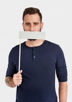 Man mond gedekt verboden in aanmerking komend concept
