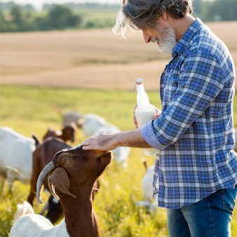 Man naast geiten met fles melk