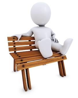 Man ontspannen op een bankje