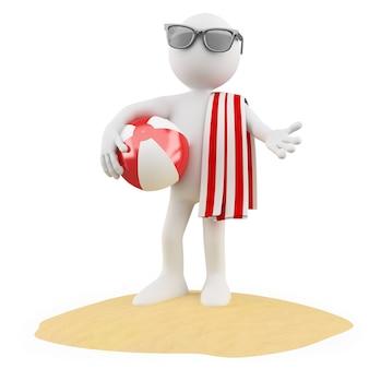 Man op het strand met een bal een rode en witte handdoek en zwarte zonnebril