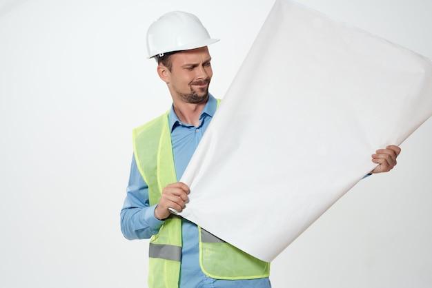 Man reflecterend vest professionele baan werken beroep