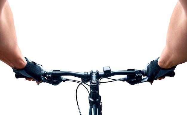 Man rijden op een fiets. geïsoleerd op wit