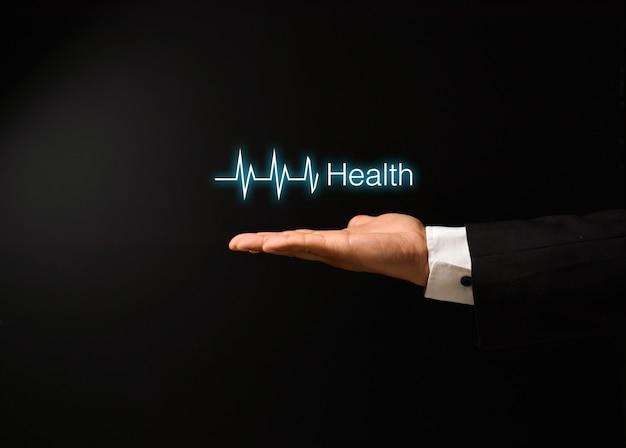 Man's hand met gezondheid conceptontwerp