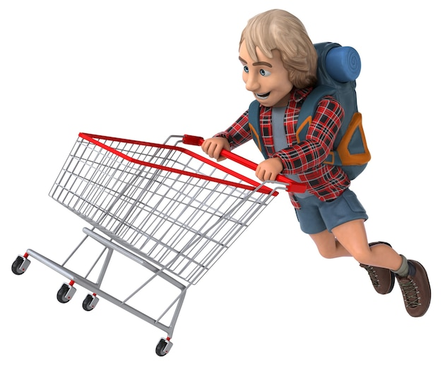 Man solo reizen backpacker 3d illustratie