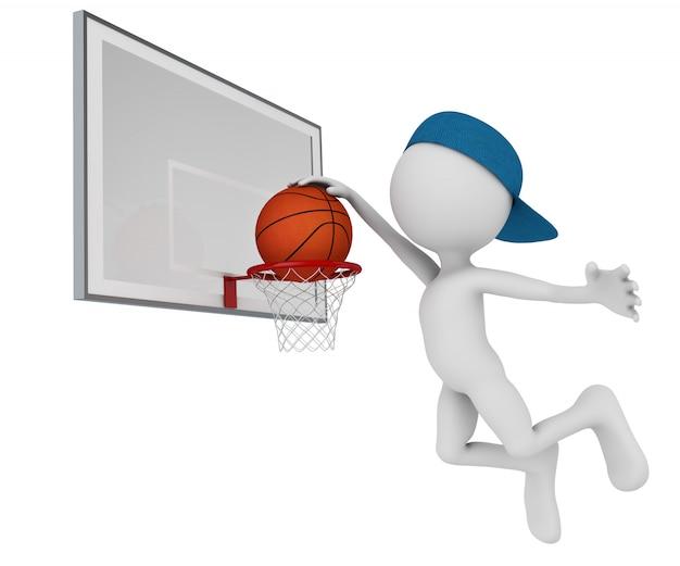 Man spelen bal in basketbal