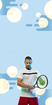 Man tennissen geïsoleerd op blauwe geometrische stijl studio achtergrond in neon licht, verticale flyer