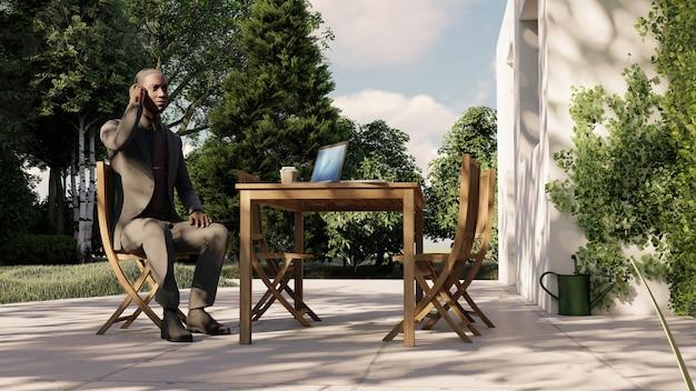 Man zit op de bank in een café praten aan de telefoon