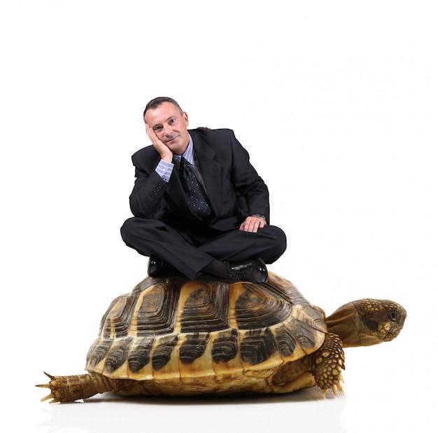 Man zit op een schildpad