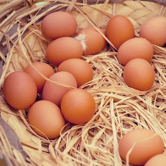 Mand met biologische eieren in een landelijke boerenmarkt