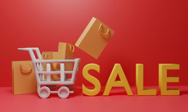 Mand trolley wagen met boodschappentassen en verkoop tekst