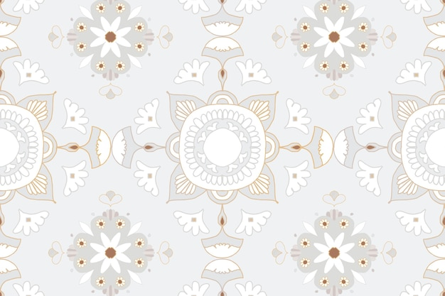 Mandala grijze bloemen indiase patroon achtergrond