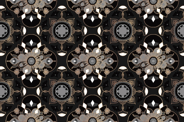 Mandala zwarte bloemen indiase patroon achtergrond