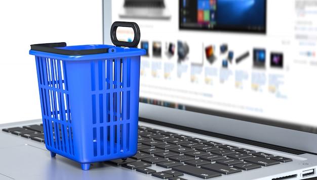 Mandvoedsel het winkelen karretjekar op een laptop toetsenbord.