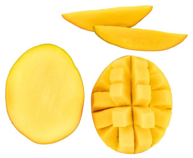 Mango geïsoleerd op een witte achtergrond, bovenaanzicht.