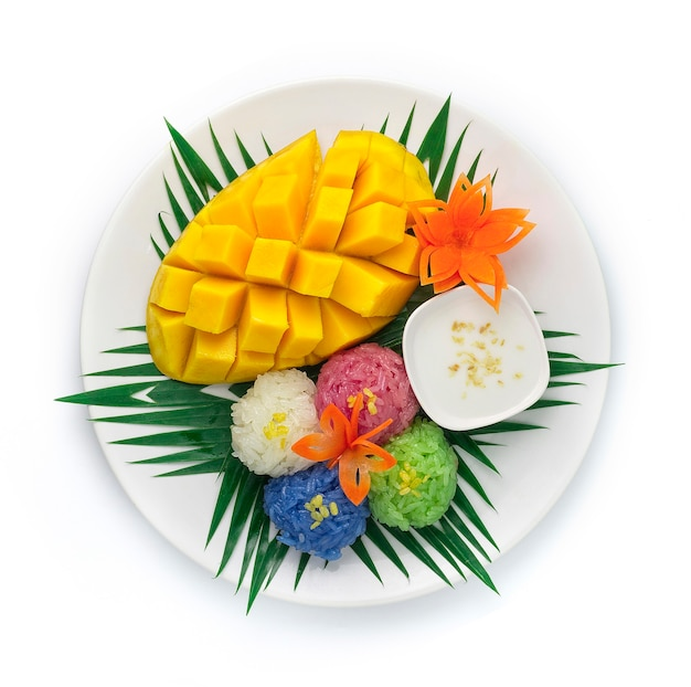Mango met kleefrijst gemengd