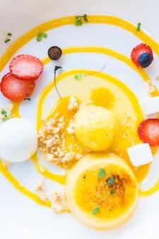 Mango passion fruit tart