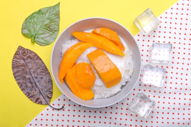 Mango plakkerige rijst in de kom met gekleurde achtergrond