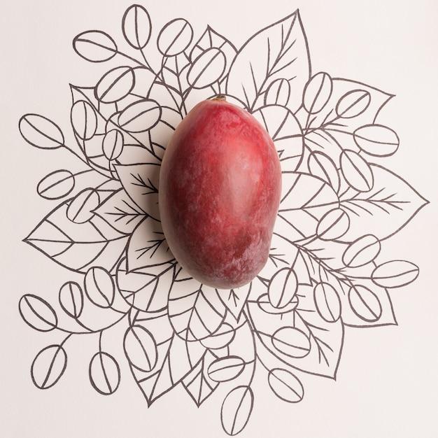 Mangofruit over overzichts bloemenachtergrond