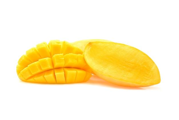 Mangoplak op witte achtergrond wordt geïsoleerd die