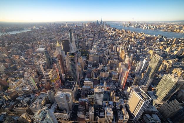 Manhattan midtown gebouwen bovenaanzicht. new york.