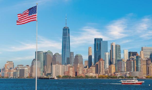 Manhattan skyline van de stad achtergrond, bezienswaardigheden van new york city, usa