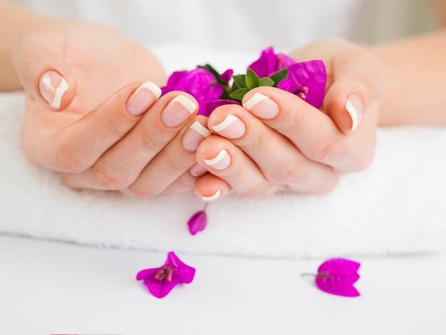 Manicured vrouwenhanden die kleurrijke bloemen houden