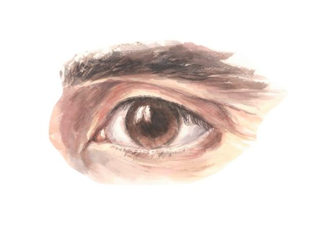 Mannelijk bruin oog die vol vertrouwen vooruitzien