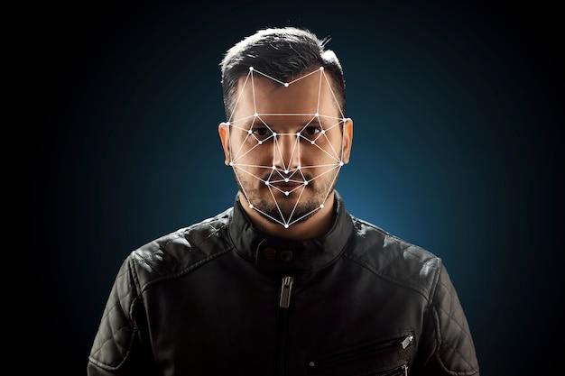Mannelijk gezicht, biometrische verificatie